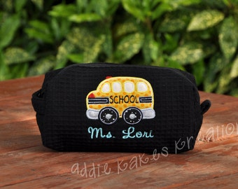 Personalized School Bus Bag - Bus Driver Gift - Waffle Bag - Accessory Bag - Cute Bus Bag - Cosmetic Bag - Monogrammed Waffle Bag
