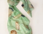 Hand painted silk scarf Apple Green Feathers/ Painted scarves/ Unique handmade gift for woman/ Shawl scarf silk. Birthday gift for her ooak