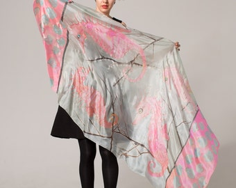 Hand painted Silk Scarf- Dancing Seahorses. Summer scarves/ Pareo, wrap shawl painted by hand/ Gray, Neon Pink scarf/ Birthday gift her
