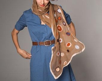 Nuno felt scarf. Silk chiffon scarf felted. Camel Dots scarf. Golden Brown Felted scarf. Fall felt scarf with orange blue grey dots