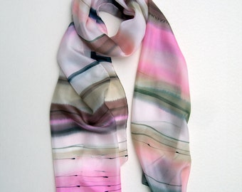 Tscherga Hand painted silk scarf. Stripes scarf in pale pink and beige. Silk scarf. Shawl scarf  pastel. Light spring scarf. Christmas gift.