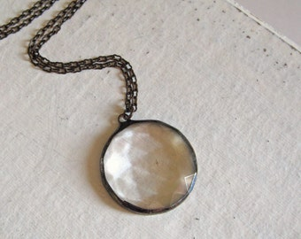 Through the Looking Glass Faceted Necklace Clear Geometric Stained Glass Jewelry