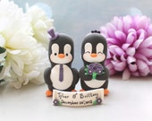 Unique Penguin wedding cake toppers - elegant cute personalized bride groom purple anniversary wedding gift decorations bouquet veil names
