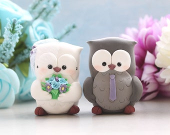 Owls wedding cake toppers - figurine bride groom personalized elegant funny rustic country custom grey purple blue anniversary gift birds
