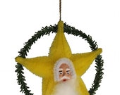 """Mixed Media Decoration Inspired by Vintage Japanese Chenille Ornaments and German Decorations - """"Yellow Santa Star"""""""