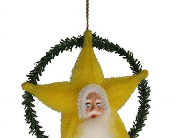"Mixed Media Decoration Inspired by Vintage Japanese Chenille Ornaments and German Decorations - ""Yellow Santa Star"""