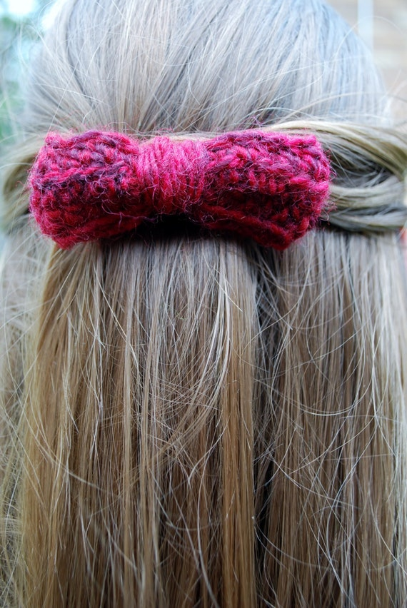 Berry Red Crochet Hair Bow Barrette Sale: Regular by stitchcraeft