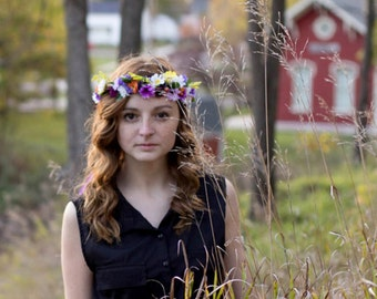 Bridal Wedding Headdress AmoreBride Flower crown barn wedding Hair wreath accessories Ready Ship Michigan Made summer colorful boho halo