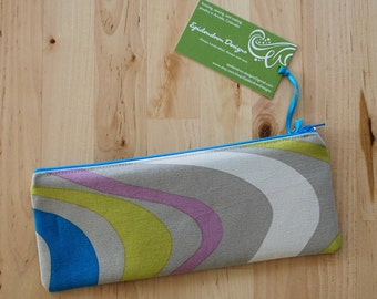 Zippered Fabric Pencil Pouch / Case / Holder - Retro Inspired Fabric with Dark Turquoise Zipper