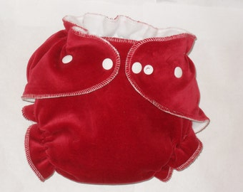 Red cotton velour/zorb fitted diaper