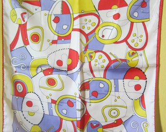Vintage Art Scarf, 1960s Sillook Scarf by Lady Heritage in the Style of Joan Miró, White with Red, Yellow, and Lavender
