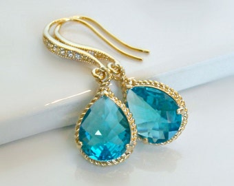 Teal Crystal Teardrops Framed in Gold or Silver, Hanging From French Jeweled Earrings
