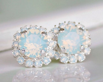 White Opal Swarovski Crystals Framed with White Opal Halo Crystals on Silver Post Earrings