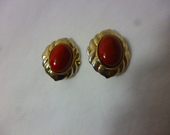 SALE Mid Century Red Cabochon Clip On Earrings
