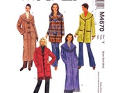Womens Jacket & Coat Pattern McCalls 4670 Shawl Collar Long Coat Button Front Jacket Loose Fit Womens Sewing Pattern Size 4 to 14 UNCUT
