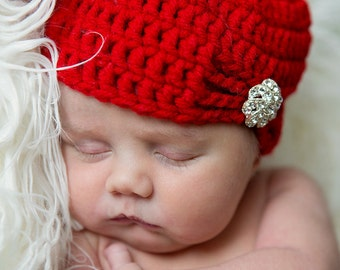 Flapper Hat with Fashion Button - made to order - newborn to adult sizes