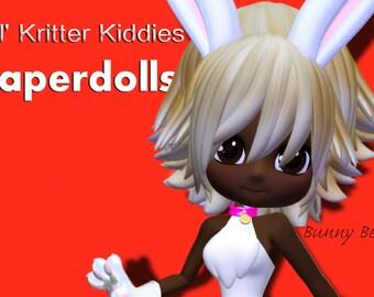 Lil' Kritter Kiddies Designer Paperdolls- Bunny Becca Twin and Playset