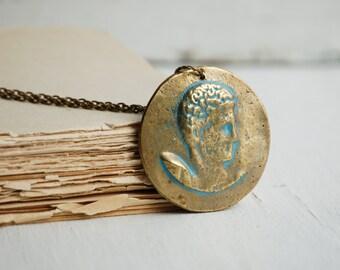 Vintage GREEK Medallion Pendant Grecian Warrior Jewelry Coin Pendant
