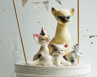 "Vintage CAT Collection Porcelain 4 Kitty Cat Figurines ""Cat Lady"" Ceramics"