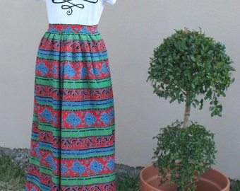 Bold Colored Maxi Skirt - Horizontal Red Green and Black Pattern - Quirky Pattern - Fun Skirt - 28 Waist