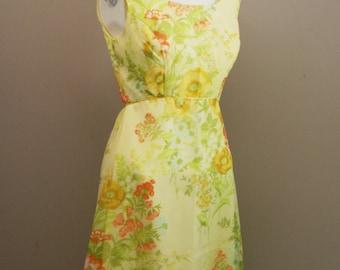 1970s Formal Dress - Sheer Yellow Floral Organza - Romantic Sweet Maxi Length - Formal Prom Wedding - Bridesmaid - Spring Summer 34 Bust