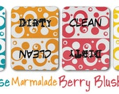 Clean Dirty Dishwasher Magnet, Circles Bubbles Pattern - Clean, Dirty Sign - Color Choices