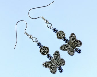Silver butterfly earrings with hematite beads