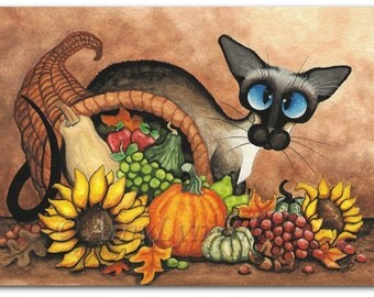 Siamese Cat Thanksgiving Autumn Cornucopia - Art Prints by Bihrle ck321