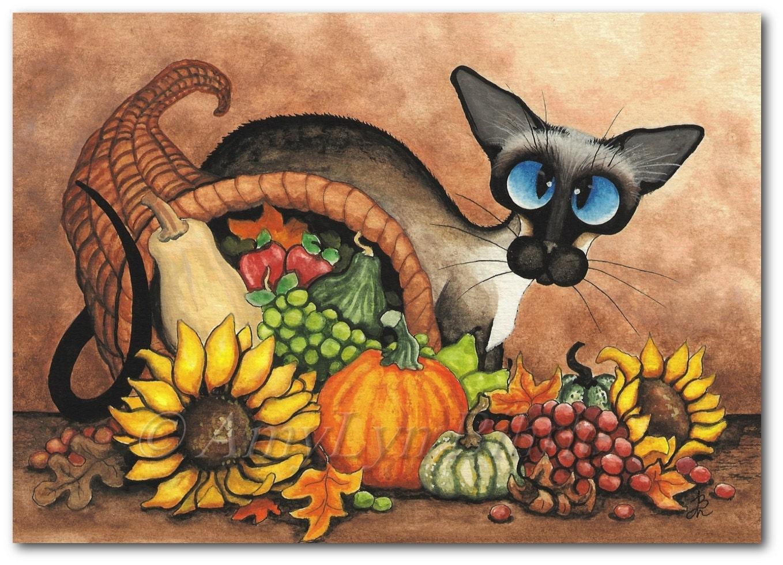 Siamese Cat Thanksgiving Autumn Cornucopia Art Prints By