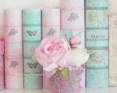 Peonies Shabby Chic Photography, Dreamy Pink Peony, Peonies Aqua Teal Floral Decor, Baby Girl Nursery Decor, Pink Peony Books Art Home Decor