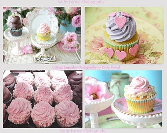 Pink Cupcake Note Cards Set, Shabby Chic Pink Cupcakes Cards, Kitchen Cupcakes Note Cards, Food Photography, Dreamy Cupcakes Note Card Set