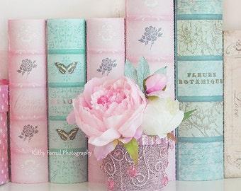 Peony Books Print, Shabby Chic Decor, Pink Peony Print, Peonies Aqua Pink Print, Baby Girl Nursery Decor, Pink Peony Books Shabby Chic Decor