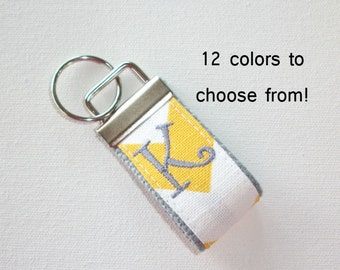 mini FINGER Key FOB / KeyChain / Wristlet  - initial monogram on your choice of chevron preppy -  custom