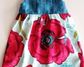 SALE Girl's Dress - Bold Poppy print with Deap Teal Herringbone Bodice and Adjustable Ric Rak Straps- by bitty bambu