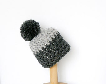Pom Pom Beanie Color Block Hat Two Thones of Gray Chunky Women's Beanie