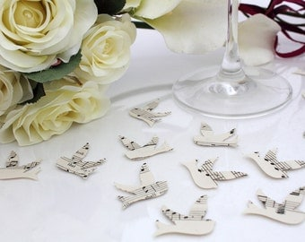 Paper swallow bird wedding confetti- 200 ivory vintage sheet music die cut punched birds 3cm by 3cm- Great romantic table decoration