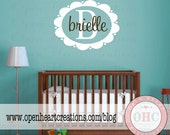 Kids Wall Decal - Initial and Name Vinyl Wall Decal for Girl or Boy Baby Nursery Bedroom Teen 22H x 28W FN025