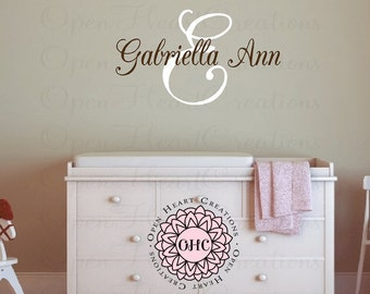Initial and Name Wall Decal for Girl or Boy Bedroom or Baby Nursery  - Script Elegant Shabby Chic Design Small to Extra Large IN0056