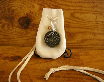 "Sagittarius Zodiac - Leather medicine bag with neck cord, Sagittarius charm, November birthstone crystal and a star charm, pouch is 3"" x 2"""