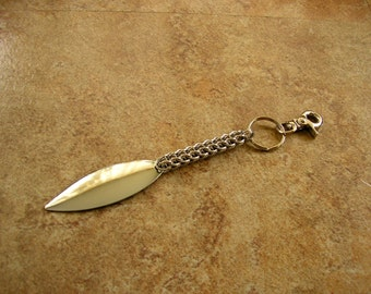 "6.5"" - Chainmail Keychain,  with a silver tone metal charm on a 1"" key ring with a trigger clip"