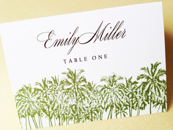 Hula Sue Palms Place Cards - Set of 25 Place Cards - Escort Cards