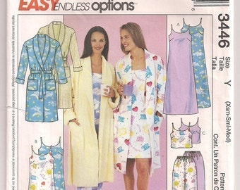 Robe Nightgown, Long or Short Gown, Top and Drawstring Pants, McCalls 3446, Adult Sleep Wear, Pajama Pattern, Uncut, Sewing Pattern, 4 - 14