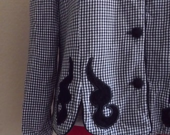 Vintage HOUNDSTOOTH Shirt With SCALLOP Bottom / Womens Medium Large / Jessica Howard Blazer Top