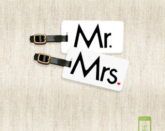 Personalized Luggage Tags Mr and Mrs Metal Luggage Tag Set Personalized with Address Message or Quote Printed FULL Metal Tags Mr Mrs #3