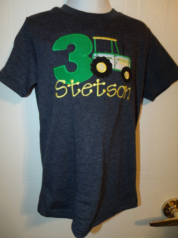 Boy farm country tractor applique birthday number shirt or for Applique shirts for sale