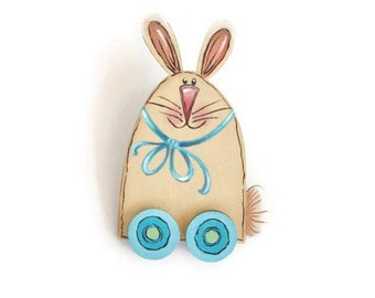 Hand Painted Bunny Lapel Pin or Brooch