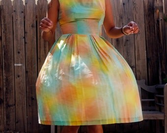 Extra special vintage find! Pastel rainbow dandelion 1950's mint condition//rare//A-line sun dress// size small