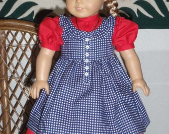 1850s Pioneer Prairie Dress and Pinafore for American Girl Kirsten 18 inch doll