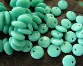 6mm Czech Lentil Glass Beads- Turquoise (50)