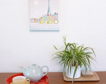 Paris Canvas Art Eiffel Tower Seine, Framed Wall Art, Skyline, Cityscape, illustration, Ready to hang, Home, Nursery, baby, childs, SCPET1